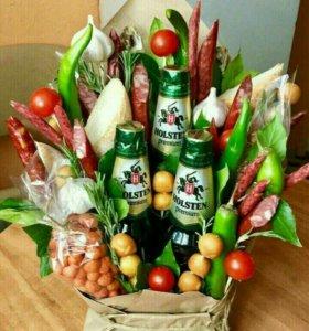 Букеты из цветов-фруктов:фруктов-овощей;