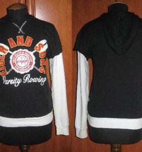Худи-свитер-бадлон-черный с капюшоном-Eiger.Хлопок