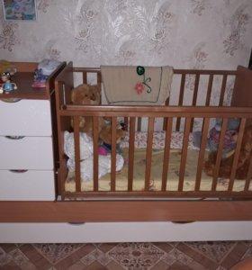 """Детская кровать-трансформер """"Жирафики"""""""
