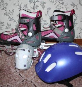 Роликовые коньки со шлемом и защитой