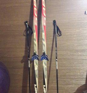 Лыжи комплект(палки,ботинки)