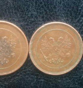 2 монеты Финляндии царского периода