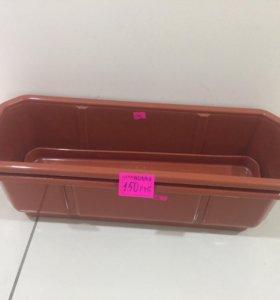 Ящик балконный коричневый