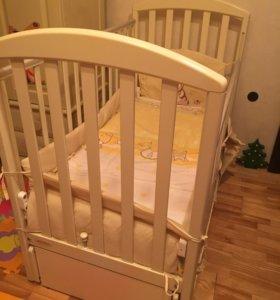 Кроватка papaloni с пружинным матрасом