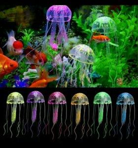 медузы силиконовые декор для аквариума