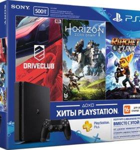 Sony Playstation 4 (PS4) Slim +3 игры. Новая