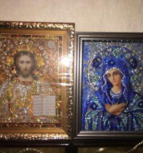 """Иконы Божья Матерь """"Умиление"""", Спаситель из страз"""