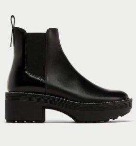 Новые ботинки ZARA 👞 женские кожаные ботильоны