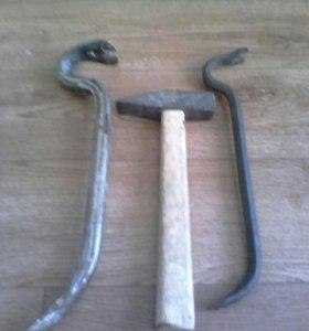 Кованый гваздодер,молоток,кувалда 1.