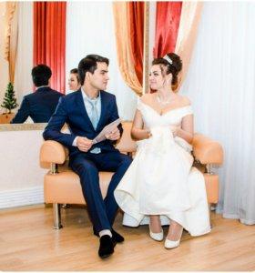 Свадибное платье +шубка