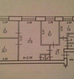 Квартира, 4 комнаты, 59.9 м²