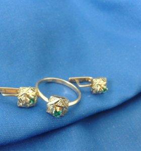 Комплект золото, изумруд+бриллианты