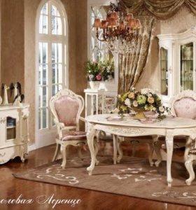 Гостиная-столовая Лоренцо белый с жемчугом
