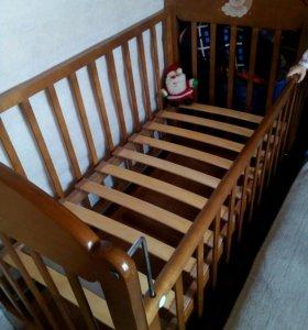 Кровать-маятник с матрасом, бортики в подарок