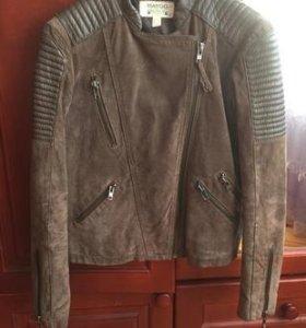 Куртка, косуха Mango, из натуральной замши