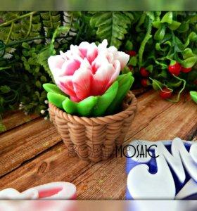 Мыло Букет тюльпанов в корзинке