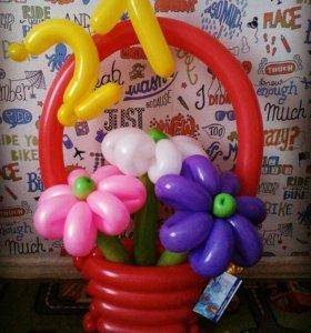 Корзины цветов из шаров