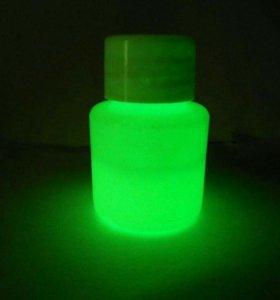 Светящаяся в темноте, люминесцентная краска Зелен.