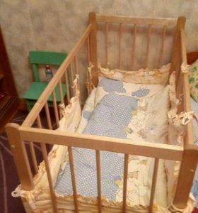 Кроватка+матрац+бортики+ одеяло+ подушка