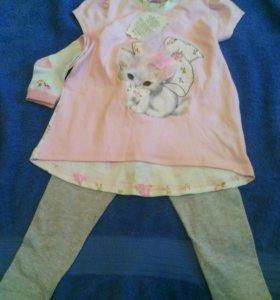 Комплекты для девочки: футболка, леггинсы