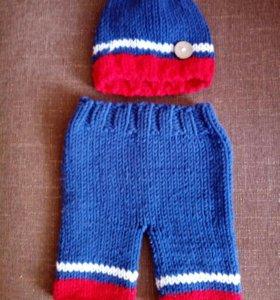 Шапочка с штанишками от 3 до6 месяцев