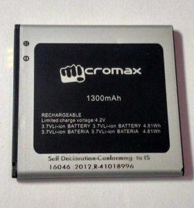 Батарея / Аккумулятор (АКБ) для телефона Micromax