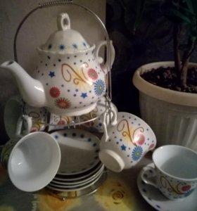 Чайный сервиз на 6 персон с чайничком и мет-ой под