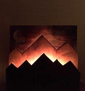 Деревянный светильник лофт, ночник