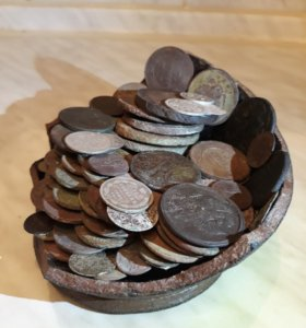 Лот монет 127 штук. Имитация клада