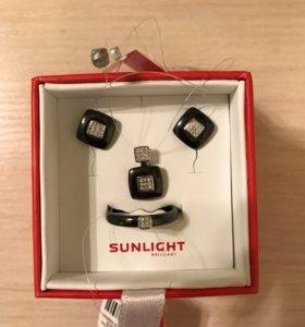 Набор Sunlight серебро эмаль с фианитами