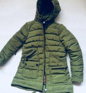 Куртка на синтепон парка хаки зелёная