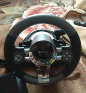 Игровой руль с педалями для ПК