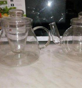 Чайник, чашки стеклянные