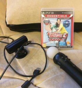 Джойстик мув, камера и оригинальный диск с играми