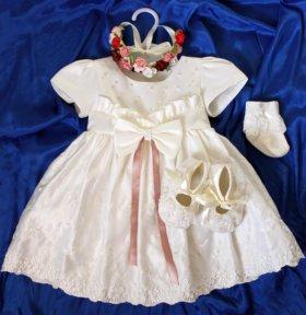 Платье + пинетки + носочки р 62-72