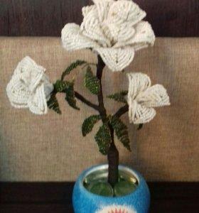 Роза из бисера 25 см