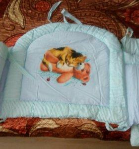 Бортик в кроватку+кармашек органайзер