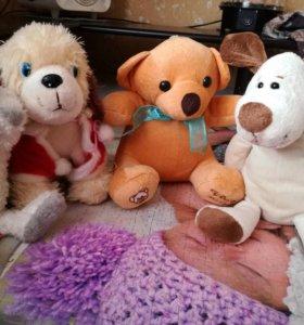 Собачки, медвежонок мягкие игрушки
