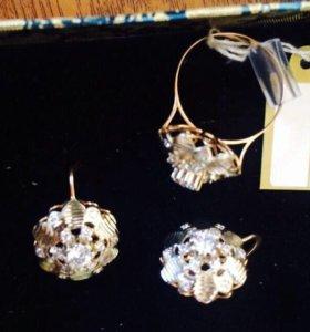 Золотые серьги и кольцо(комплект)