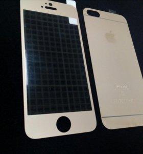 Стекло для IPhone 5 3D Золотой