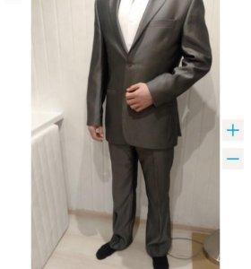 Мужской костюм, Sergio Cezaro 46-48(M) цвет сталь