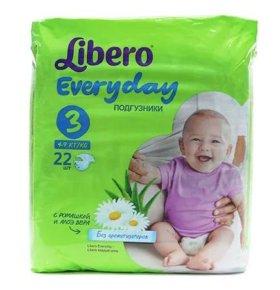 Подгузники Libero Every Day 4-9 кг. новые.