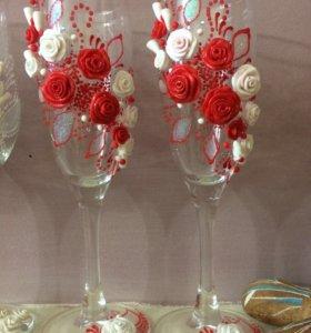 Бокалы, фужеры свадебные праздничные