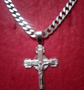 Цепь с крестом серебро 925
