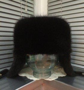 Новая кожаная шапка. Мех: ондатра.