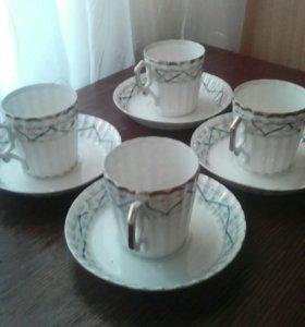 4 старинные фарфоровые чайные пары