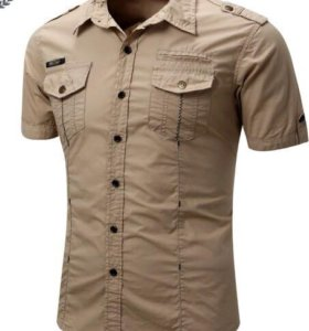 Новая мужская рубашка - светлый хаки50-52