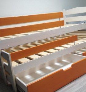 Детская кровать выдвижная из массива сосны