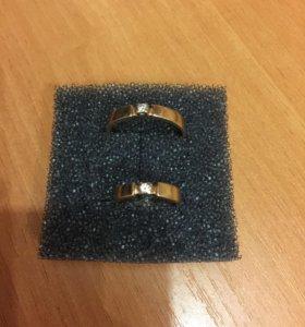 Кольца обручальные с бриллиантами.
