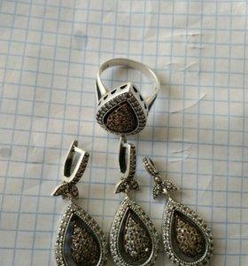 Серебро сережки кольцо кулончик